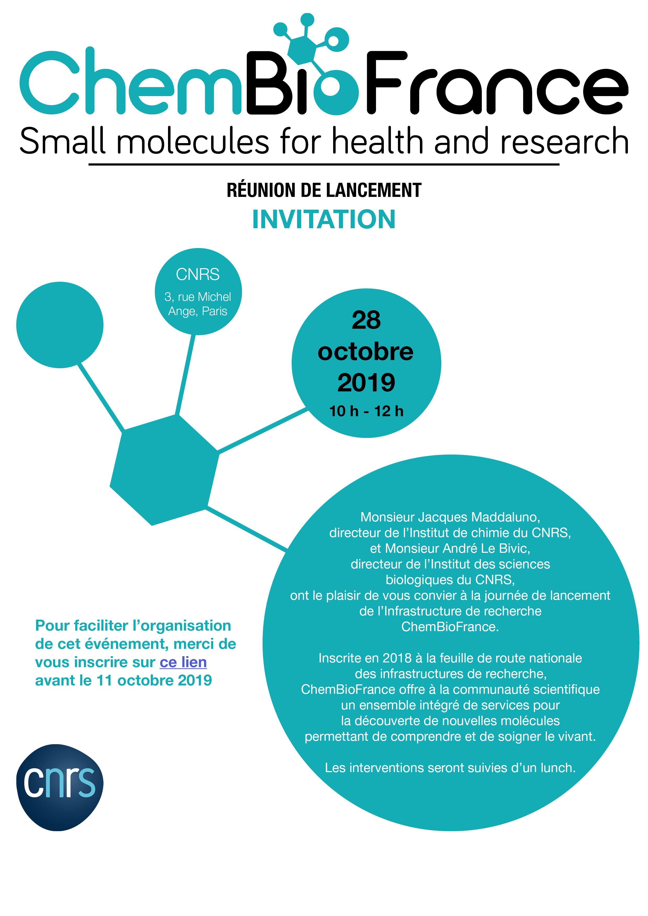 Invitation ChemBioFrance - 28 octobre 10h CNRS 3 rue Michel Ange 75016 Paris